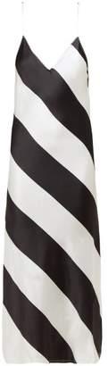Dodo Bar Or Aline Striped Silk Slip Dress - Womens - Black White