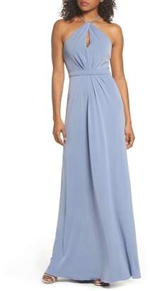 Amsale Sena Jersey Keyhole Halter Gown