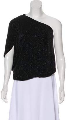 Alice + Olivia One-Shoulder Glitter Top