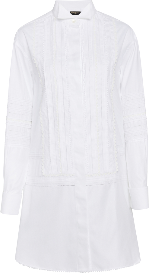 Burberry Pintucked Macram Lace-Paneled Cotton Shirt Dress