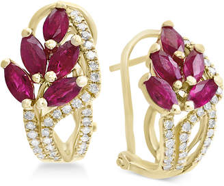 Effy Amore by Certified Ruby (2-1/5 ct. t.w.) & Diamond (1/3 ct. t.w.) Drop Earrings in 14k Gold