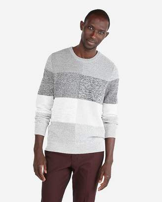 Express Striped Patchwork Crew Neck Sweater