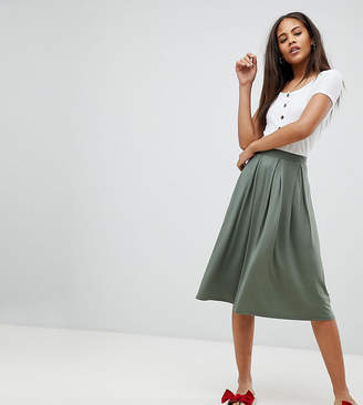 Asos Tall Design Tall Midi Skirt With Box Pleats