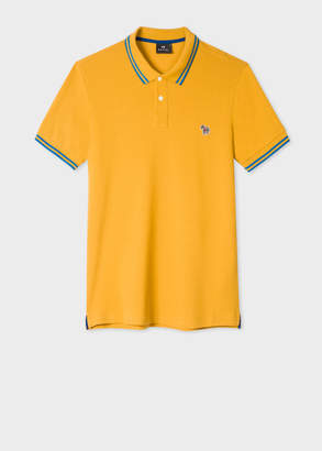 Paul Smith Men's Slim-Fit Mustard Zebra Polo Shirt With Blue Tipping