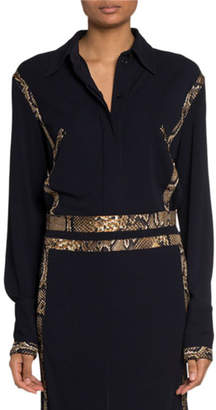 Victoria Beckham Snake-Piped Jersey Button-Front Shirt