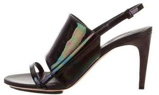 Calvin Klein Collection Karin Oiled Patent Leather Sandals w/ Tags