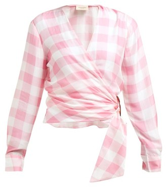 Adriana Degreas Vichy Gingham Print Wrap Top - Womens - Pink