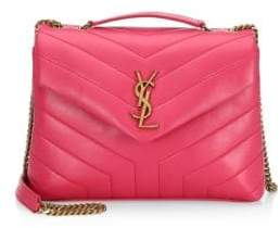 Saint Laurent Small Lou Lou Chevron Quilted Leather Crossbody Bag
