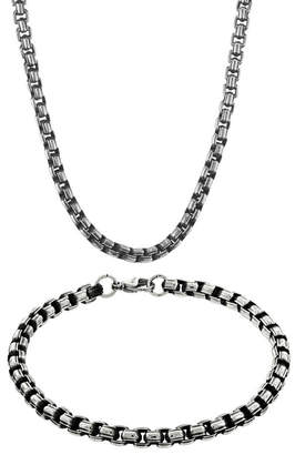 JCPenney FINE JEWELRY Mens Stainless Steel & Black IP Inlay 5.5mm Round Box Chain & Bracelet Boxed Set
