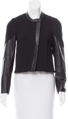 Helmut Lang Collarless Leather-Paneled Jacket