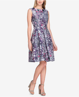 Tahari ASL Floral-Applique Printed Fit & Flare Dress