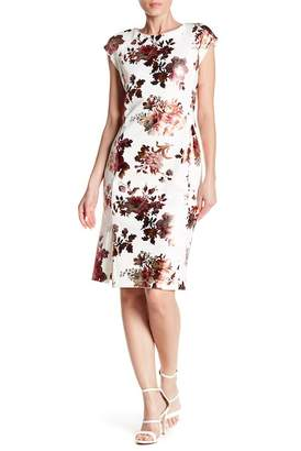 ECI Short Sleeve Floral Print Scuba Dress