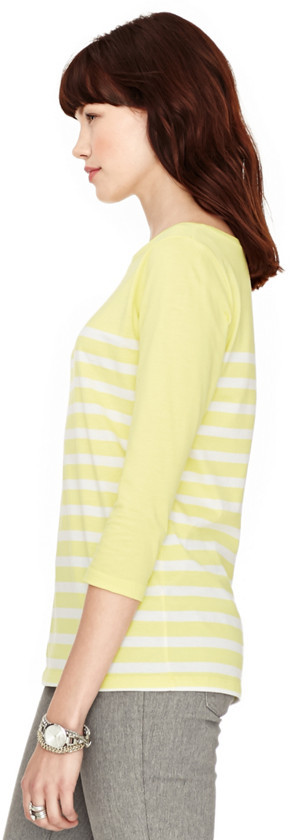 Fossil Rachel Striped 3/4 Sleeve Boat Neck Tee