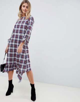 Asos DESIGN soft trapeze midi dress with pephem in check