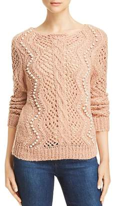 Aqua Embellished Cable Knit Sweater - 100% Exclusive