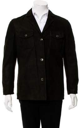 Luciano Barbera Leather Button-Up Jacket