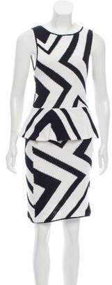 Alice + Olivia Chevron Pattern Knee-Length Dress