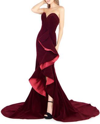 Mac Duggal Strapless Sweetheart Velvet Ruffle Gown with Train & Slit