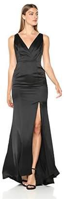 bd9a37e85e Adrianna Papell Women s Sleevelss Faux Wrap Bodice Light Satin High Slit  Dress