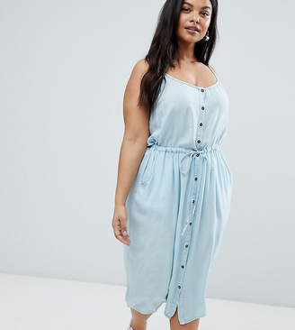 Brave Soul Plus Becky Button Through Midi Dress with Drawstrign Waist