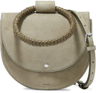 Theory Whitney Small Braided Leather And Suede Shoulder Bag - Army green