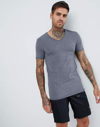 Asos Design DESIGN muscle fit t-shirt with v neck and raw edges in grey