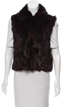 Adrienne Landau Pointed Collar Fur Vest