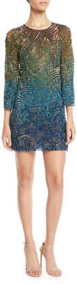 Jenny Packham Rigel Jewel-Neck Bell-Sleeve Beaded Patterned Shift Cocktail Dress