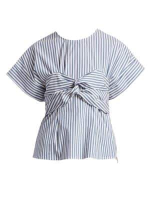 Sea Stripe Knot Front Top