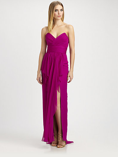 Notte by Marchesa Strapless Silk Chiffon Gown