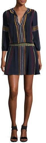 Alice + Olivia Alice + Olivia Jolene Embroidered Smocked Dress, Navy