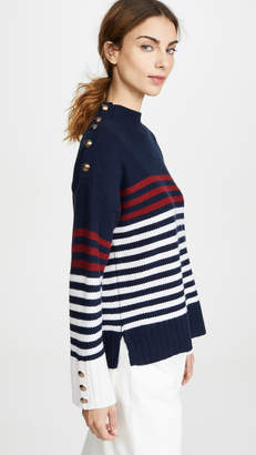 Autumn Cashmere Breton Stripe Mock Neck