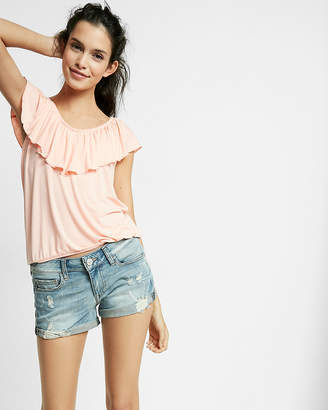 Express Low Rise Relaxed Destroyed Stretch+ Denim Shorts