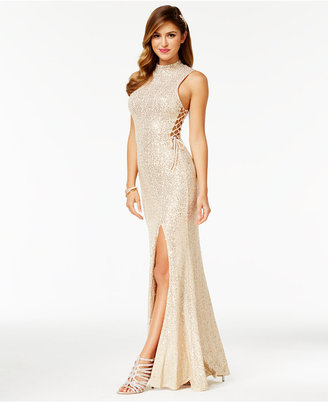 City Studios Juniors' Sequined A-Line Gown $129 thestylecure.com