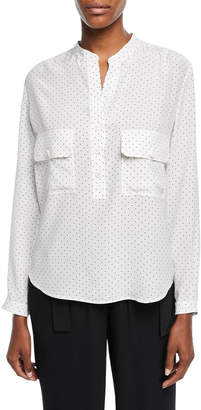 Vince Polka-Dot Long-Sleeve Silk Utility Shirt