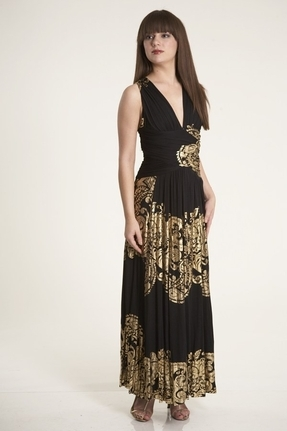 Rubber Ducky Grecian Goddess Long Floral Dress in Black/Gold