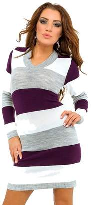 Glamour Empire. Womens Knit Stretchy Warm Jumper Dress Sweater Top Stripes. 405