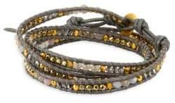 Chan Luu Titanium Pyrite Stones, Grey Botswana Agate, Leather & Sterling Silver Bracelet