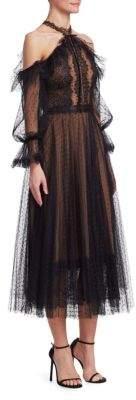 Marchesa Bishop-Sleeve Cold-Shoulder Cocktail Dress