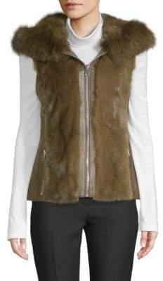 Dyed Mink & Fox Fur Hooded Gilet