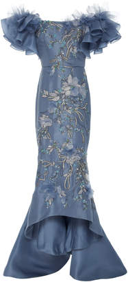 Marchesa Ruffled Silk Organza Gown