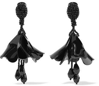 Oscar de la Renta - Mini Impatiens Beaded Clip Earrings - Black $350 thestylecure.com