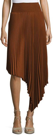 A.L.C.A.L.C. Sofia Asymmetric Pleated Midi Skirt, Chocolate