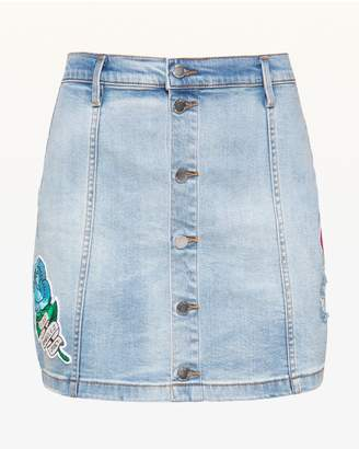 Juicy Couture JXJC Tattoo Patch Denim Skirt