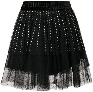Philipp Plein crystal embellished lace skirt