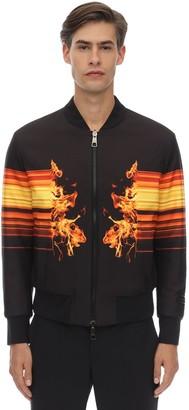Neil Barrett Flame Print Techno Bomber Jacket