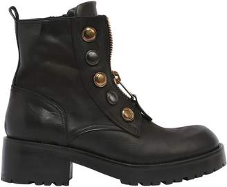 Strategia 50mm Buttons & Zipper Leather Boots