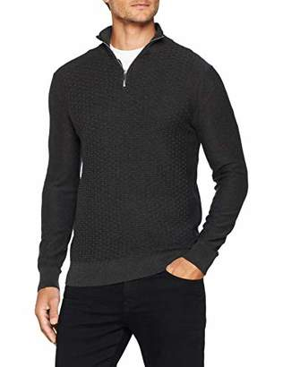 Burton Menswear London Men's Textured Half Zip Jumper Long Sleeve Top,Medium (Size:M)