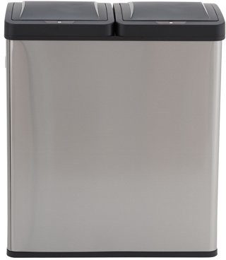 Household Essentials Design Trend 30L-30L Recycle Sensor Can, Stainless Black Lid