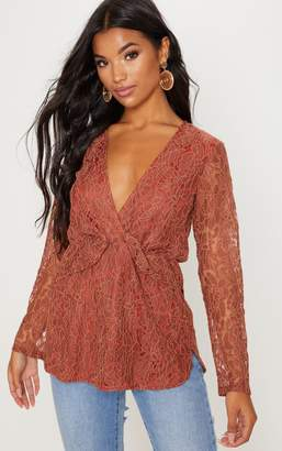 PrettyLittleThing Terracotta Lace Plunge Blouse